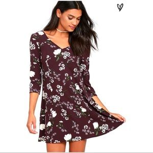 Lelina Purple Floral Print Shift Dress